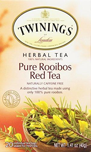 Twinings Herbal Tea,Pure Rooibos Red Tea, 20 Count Bagged Tea (6 Pack)