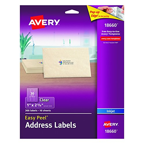 Envelope Label Template (Avery Easy Peel Mailing Labels for Ink Jet Printers, 1 x 2-5/8 Inches, Clear, Pack of 300 (18660))