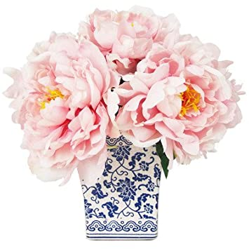 Amazon Peony Bouquet In Chinoiserie Vase Home Kitchen