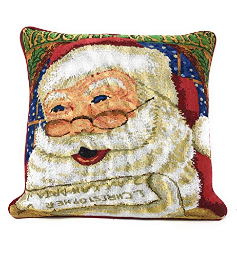 DaDa Bedding Throw Pillow Covers - Set of 2 Santa Clause Naughty or Nice - Tapestry Festive Christmas Cushion Cases - 16