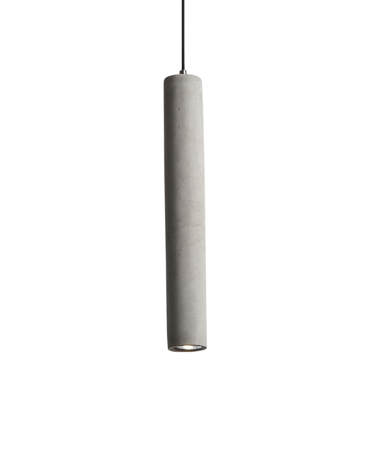 Contemporary industrial gray cement pendant light smooth concrete