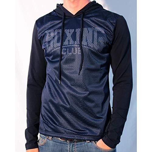 Boxing Club – Shirt Langarm Urban Street Style – Shirt mit Kapuze A Netz Herren