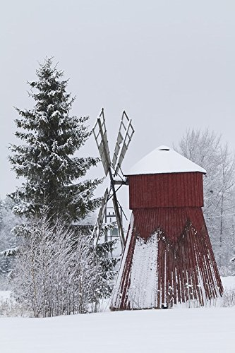 Windmill Tower (Home Comforts Peel-n-Stick Poster of Museum Snow Bush The Wings Windmill Winter Tower Poster 24x16 Adhesive Sticker Poster Print)