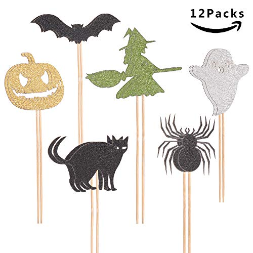Halloween Cupcake Toppers Mini Cup Cake Picks Halloween Decoration Pumpkin Spider Witch Bat Party Decorations By BLULITTLE (Halloween 12 Packs) ()