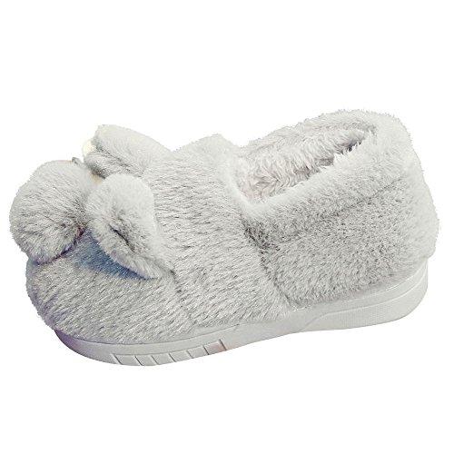 Hunpta Nette Kleinkind Bogen Baby Plüsch weiche alleinige rutschfeste warme Samt Schnee Schuhe Grau