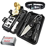 HuKimGee Emergency Survival Gear Kits 12 in 1, Professional Outdoor Survival Military EDC Tools with Fire Starter Knife Whistle Emergency Blanket Bracelet etc for Outdoor Travel Hike Field Hunting