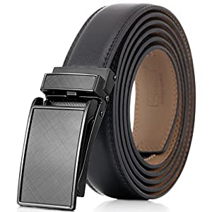 """Marino Avenue Men's Genuine Leather Ratchet Dress Belt with Linxx Buckle, Enclosed in an Elegant Gift Box - Gunblack Glossy Design Buckle with Black Leather - Adjustable from 28"""" to 44"""" Waist"""