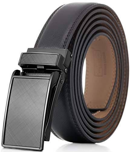 (Marino Avenue Men's Genuine Leather Ratchet Dress Belt with Linxx Buckle - Gift Box (Gunblack Glossy Design Buckle with Black Leather, Adjustable from 28