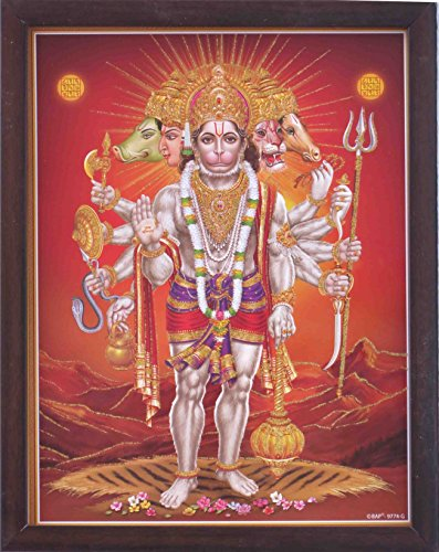 Holy Hindu Religious Panch Mukhi Hanuman holding weapons and giving blessings, Hindu Holy Religious Poster painting with frame for Hindu Religious and Gift purpose. by HandicraftStore