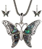 Green Imitation Abalone Butterfly Pendant with Popcorn Chain Necklace with Matching Earrings