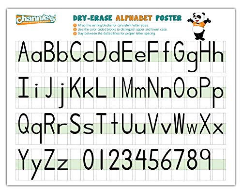Channie's Visual Two Sided Large Dry Erase Alphabet & Numbers Poster Board, Use in Classroom and Homeschool; Size 22