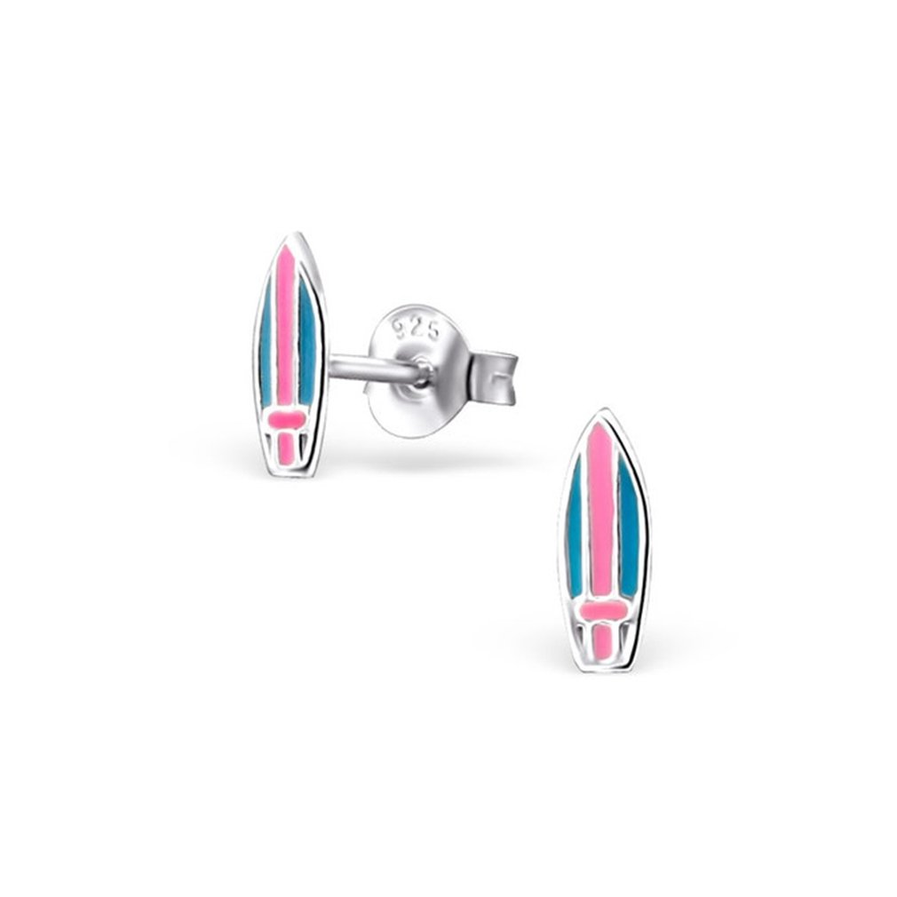 Children`s Surfboard Colorful Ear Studs 925 Sterling Silver Liara Polished And Nickel Free