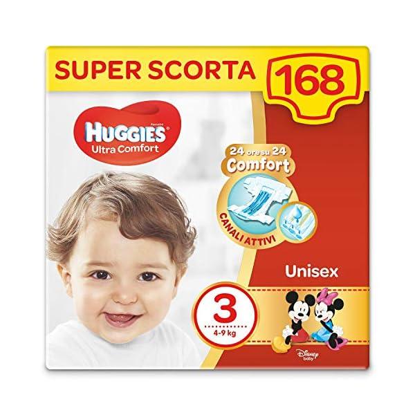 HUGGIES Pannolini Ultra Comfort, Taglia 3 (4-9 Kg), Confezione da 168 Pannolini (3 x 56) 1