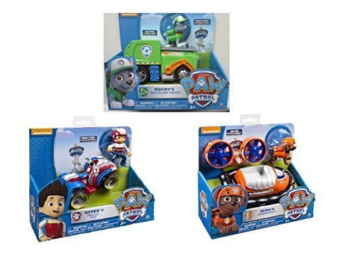 Paw Patrol 3 Pack Playsets - Rocky's Recycling Truck, Ryder's Rescue ATV, Zuma's Hovercraft Bundle by Paw Patrol