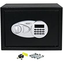 F2C Single/Double Door Digital Electronic Security Safe Box with Two Keys, Digital Lock for Gun Cash Jewelry Valuable Office Home Hotel, Solid Steel