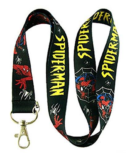 Black Spiderman Poses and Logo Lanyard Phone/Badge -
