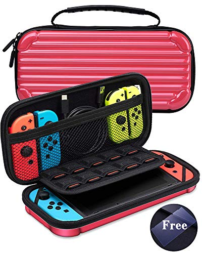 - KeeGan Carrying Case for Nintendo Switch - Hard Deluxe Protective Travel Case Portable Bag Shockproof Shell Pouch with 10 Game Card Storage and Screen Protector Glass (Rosy)