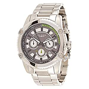 Blade Men's Grey Dial Stainless Steel Band Dress Watch - 10-3497G-SN