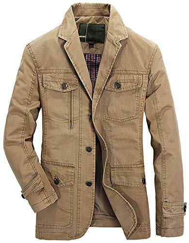 chouyatou Men's Casual Notched Collar Multi Pockets 3 Buttons Lightweight Blazer Jackets (X-Large, Khaki) ()