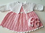 Unique 100% Cotton Hand Made Crochet New Born Baby 3 Piece Beautiful Dress Set, Size 0-3 Months