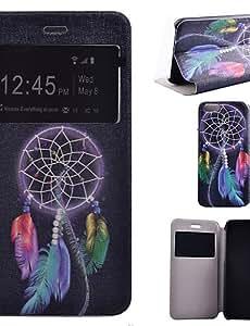 YULIN patrón campanula pu flip material de abrir la ventana de cuero para el iphone 6s