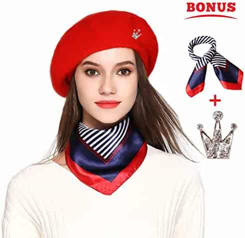 b625eb742ded2 Jeicy Wool Beret Hat Solid Color French Artist Beret Skily Scarf Brooch
