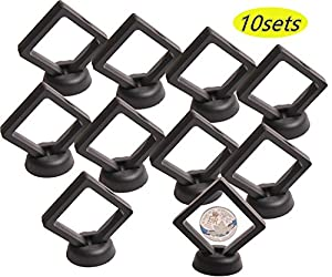 Coin Display Stand - Set of 10 3D Floating Frame Display Holder with Stands for Challenge Coins, AA Medallions, Jewelry, Black, 2.75 x 2.75 x 0.75 Inches
