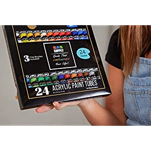 SAS Supply Acrylic Painting Set by 24 Rich, Vibrant Colors for Beginners, Students & Professional Artists. Paint on Canvas, Paper, Wood, Ceramics & More. 3 Bonus Paintbrushes with Comfort Grip.