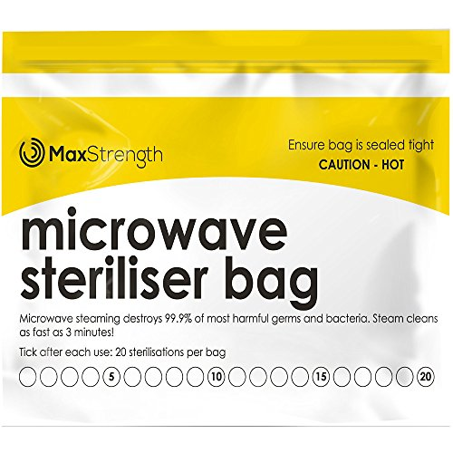Premium Microwave Sterilizer Bags (20pcs) by Max Strength, Large & Durable Steam Bags for Baby Bottles, Soothers, Teethers & Training Cups, 20 Uses per Bag & Marking ()