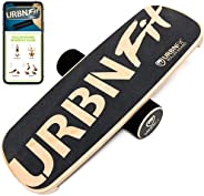 URBNFit Balance Board Trainer - Wooden Roller Boards for Snowboard, Surf, Hockey, Ski and Fitness Training - B