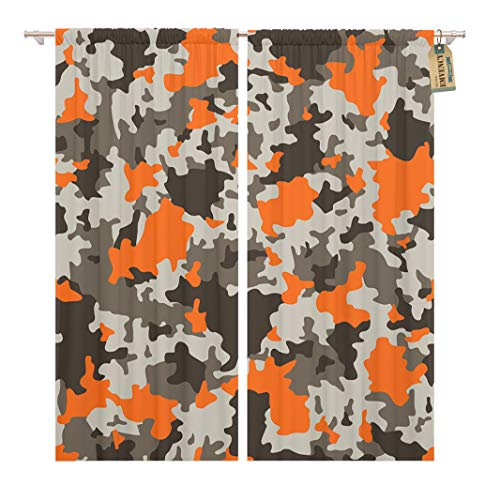 Golee Window Curtain Brown Black Military Camouflage Grey and Orange Camo Urban Home Decor Rod Pocket Drapes 2 Panels Curtain 104 x 96 inches
