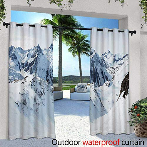 Lightly Exterior/Outside Curtains,Almeria Playa del Monsul Beach at Cabo de Gata in Spain,W96 x L96 Outdoor Patio Curtains Waterproof with Grommets