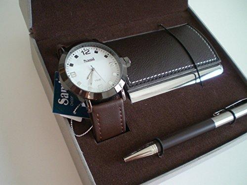 Sami RSM-43568-3 Time Series - Conjunto de Reloj de caballero esfera metal color blanco, correa de piel marron, boligrafo con punta tactil y tarjetero: ...
