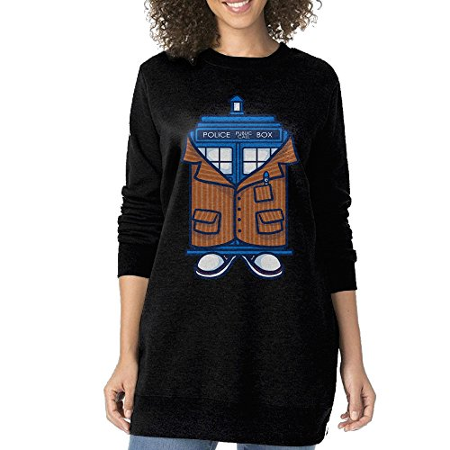 Women Fashionable Tard 10th Doctor Classic Long Hoodie Sweatshirt (10th Doctor Dress)