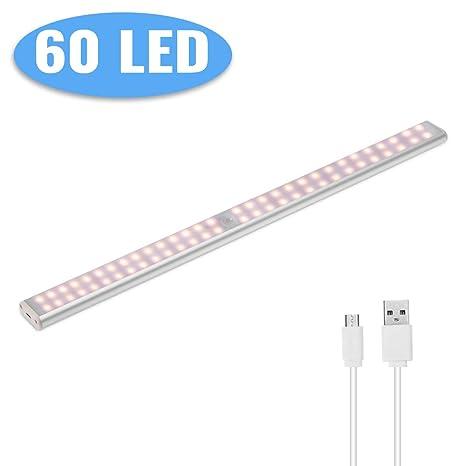 Luz de Armario Sensor de Movimiento,Lacyie 60LED 2000mAh USB Recargable Pilas Automático Luces con