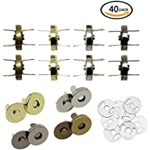 Hysagtek 40 Sets Magnetic Button Clasps Snaps Fastener Clasps DIY Craft Sewing Buttons Knitting Buttons Sets for Sewing, Craft, Purses, Bags, Clothes, Leather, 4 Colors (18mm)