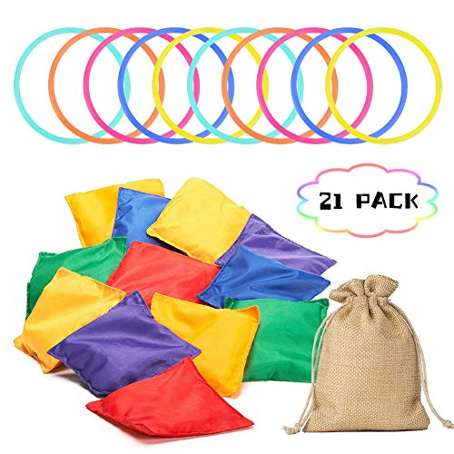 Aster 21PCS Bean Bags Ring Toss Game Set - Colorful Nylon Bean Bags and Rings with A Burlap Bags, Carnival Combo Set Sports Day Garden Backyard Outdoor Family Games Speed and Agility Training