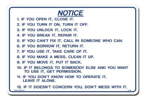 Lynch Signs 14 in. x 10 in. Blue on White Plastic Do's and Don'ts If You Open It Close It by Lynch Signs (Image #1)