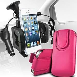 Motorola Moto T Protección Premium de cuero de la PU botón magnético ficha de extracción Slip espinal en bolsa de la cubierta de piel de bolsillo rápido con 12v USB Micro Cargador para el coche y soporte universal de la succión del parabrisas del coche Vent Cuna Hot Pink por Spyrox