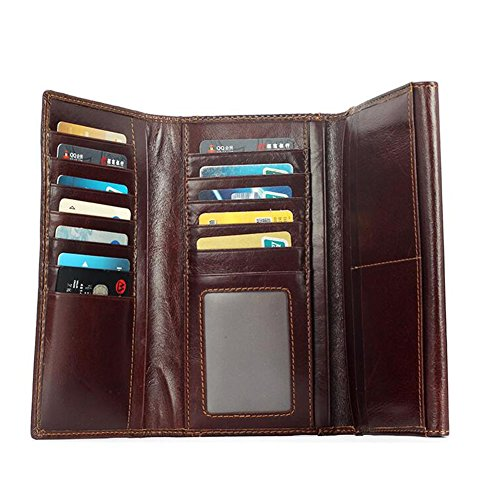 Men Brown Multifunction Long Honey Capacity High Section Package Wallet WALLETS Dark Fold Card w7n6qtHO
