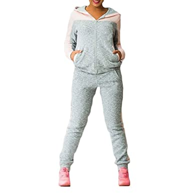 Sfit 2 Pièces Ensemble Femme Survêtement Sports Pull et Pantalon Gym Yoga  Jogging Fitness Taille Haute Élastique Respirable  Amazon.fr  Vêtements et  ... 9a1bfba9d59
