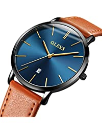 Mens Ultra Thin Minimalist Watches on Sale, Business Gift Casual Wrist Watch with Yellow Black Brown Cowhide Leather...