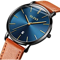 Mens Ultra Thin Minimalist Watches on Sale, Business Gift Casual Wrist Watch with Yellow Black Brown Cowhide Leather Strap Band Watches, Date Water Resistance Watch, 2019 OLEVS Brand Christmas Gifts