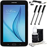 Samsung Galaxy Tab E Lite 7.0 8GB (Wi-Fi) Black Accessory Bundle includes Tablet, Cleaning Kit, 3 Stylus Pens and Metal Ear Buds