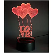 Birthday Gift: Love Heart 3D LED Light Multi Color Creative USB Room Decorative Light