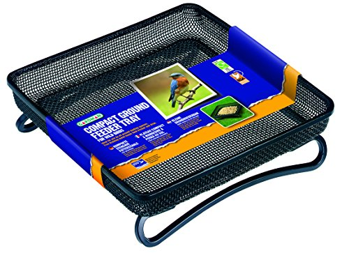 "Gardman BA01305 Compact Ground Bird Feeder Tray, Black, 7"" Long x 7"" Wide x 2"" High."