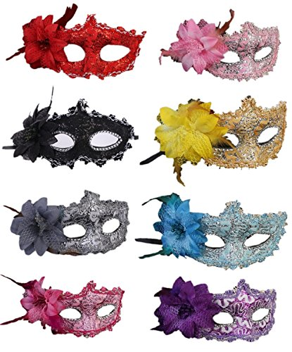 CISMARK Women's Sexy Venetian Masquerade Masks Halloween Party, 8 colors(Pack of 8) ()