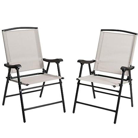 Bakaji - Juego de 2 sillas Plegables de Acero y textileno ...