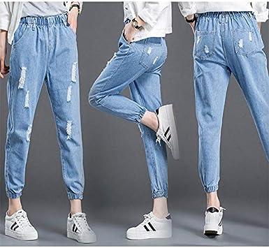 Nuovi Pantaloni da Donna Harem Jeans da Donna Pantaloni Vintage in Denim con Vita Elasticizzata Pantaloni da Donna in Cotone Slim di Grandi Dimensioni
