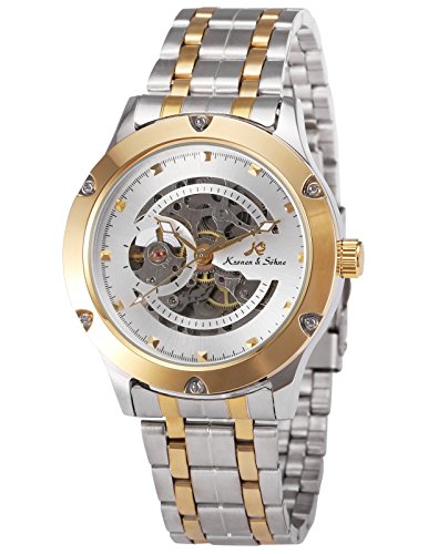 German Mechanical Watches (KS Navigator White Dial Skeleton Automatic Men's Mechanical Silver Gold Stainless Steel Watch KS207)